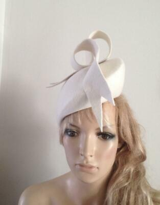 Ivory felt hat fascinator hats pillbox feather wedding ascot fascinators bride