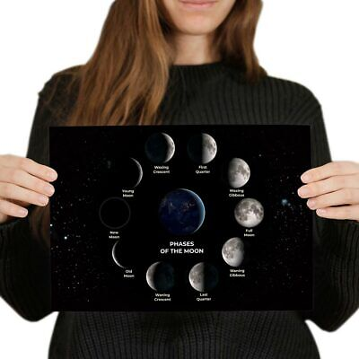 A4 - Moon Phases Space Planet NASA Poster 29.7X21cm280gsm #8145