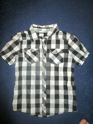 boys boy shirt top black & white checked age 10-11 years short sleeved