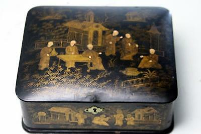 Antique Chinese Lacquer Letter  Box 1860's