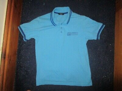 boys boy blue polo shirt top age 9-10 years short sleeved turquoise