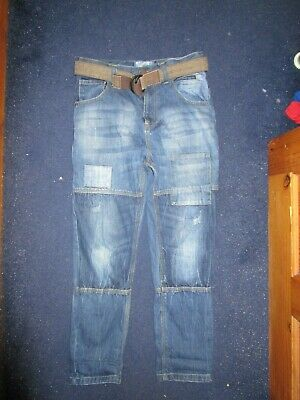 boys boy age 10 years blue jeans hardly worn adjustable waist next brown belt