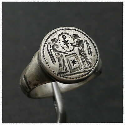 """"""" CHI-RHO between VICTORIAS""""  ancient SILVER Roman ring !!!! 11,85g"""