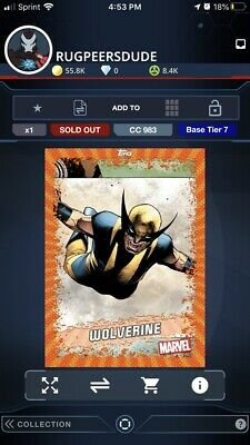 Topps Marvel Collect 2020 Tier 7 Launch Base Wolverine Digital Card
