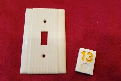 1 Ivory Vtg Ribbed Deco Single Gang Bryant Switch Cover Plates Bakelite - Y13