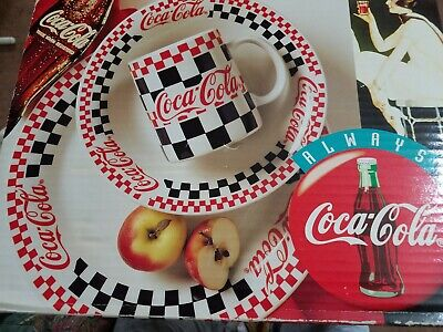 NEW Gibson 1996 COCA COLA Diner CHECKERED Coke DISHES Set PLATES Bowls MUGS