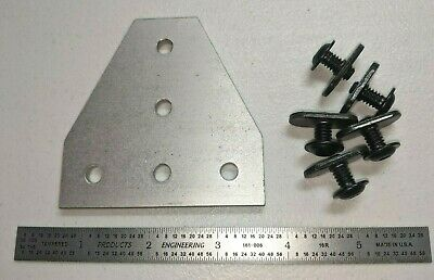 """80/20 Inc T-Slot Aluminum 5 Hole Tee Flat Plate 10 Series #4140 Pre-Owned """"Nuts"""""""