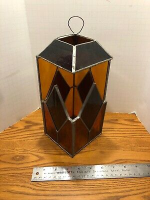 LANTERN STAINED GLASS Artisan Studio  DECO HAND MADE Amber Red Orange Glass