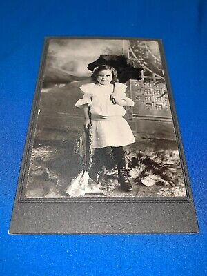 Antique Cabinet Card Photo Young Girl Holding Umbrella Pre 1920 Dyersville Iowa