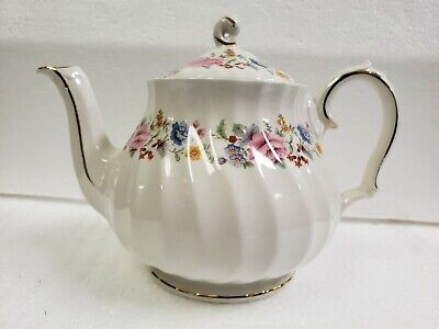 Vintage Floral Sadler Single Serve Teapot Pink Roses Pastel Flowers Gold Trim