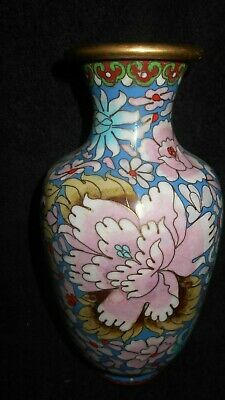 Antique Chinese Cloisonne Enamel Vase with Flowers blue,pink,green Beautiful