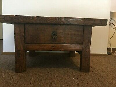 Chinese Antique Elm Kang Table with Drawer circa 1900's
