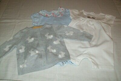 Baby girls rompers from The White Company & Mothercare bunny cardigan 3-6 m