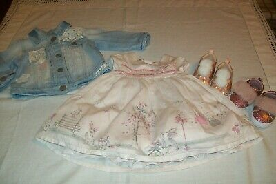 Baby girls Next bunny dress & denim jacket with 2 pairs of shoes all 3-6 months