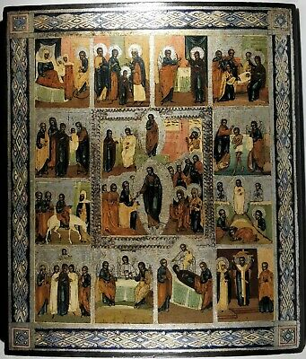 Ikone,Antique Russian Orthodox icon,,Church Feasts,,from 19c.