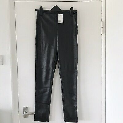 BNWT H&M Black Faux Leather PU Snake Texture High Waist Skinny Trousers Size 10