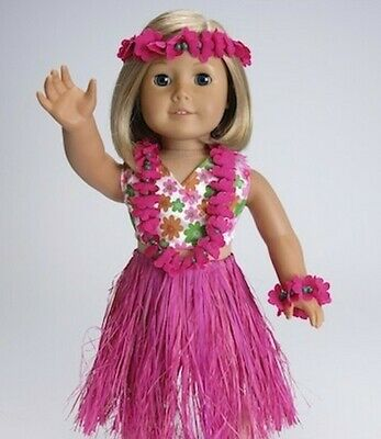 6 pc Hot Pink Hawaiian Hula Outfit Set fits 18 inch American Girl Doll Clothes