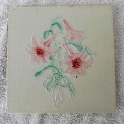 Antique Original English Art Nouveau Pale Green and Pink Posy of Lilies Tile
