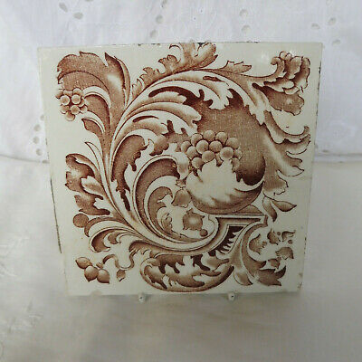 Antique Original English Art Nouveau Sepia/ White Grapes & Leaves Ceramic Tile