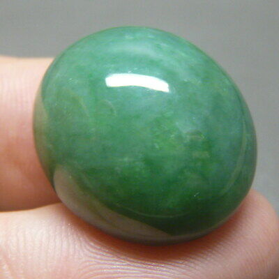 37.45 ct Genuine Jadeite Jade (Natural-Type A) Green-White Cabochon