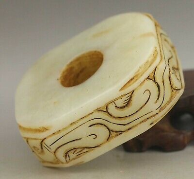 Chinese old natural jade hand-carved statue dragon pendant 2.7 inch