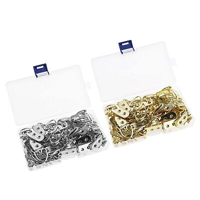 50Pcs Non-Trace D-Ring Frame Picture Hooks Hangers Double Hole with Screws Kit