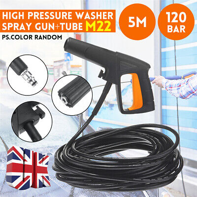 UK 120Bar High Pressure Washer Spray Gun M22 Hose For karcher K2 K3 K4 K5