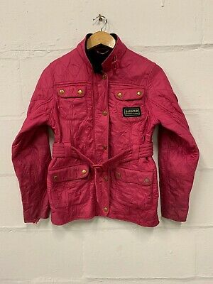 Barbour Girls Quilted Jacket Cerise Pink Country Size Xl 12/13 Yr Zip Button