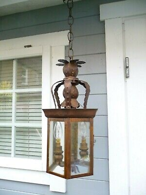 Vintage Large Bronze Colour Metal Lantern Twin Light+Chain Light Weight Project
