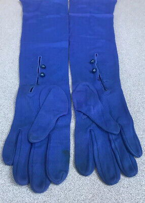 Royal Blue 50s 60s Vintage Nylon Long Gloves Evening Button Detail Small