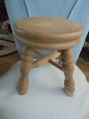Small Wooden Traditional Milking Stool Rustic Footstool