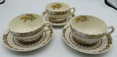 Set of 6 Pieces 3 Cups & 3 Saucers Spode Fine China Copeland England Buttercup
