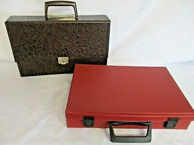 2 Music Cassette Storage Boxes, Brown Faux Animal Print & Red Vinyl, Retro