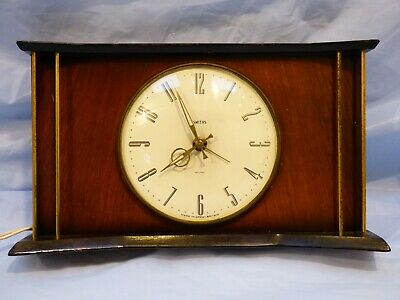 Vintage Retro 1950's Smiths Sectric Mantel Desk Clock Electric Wooden for repair