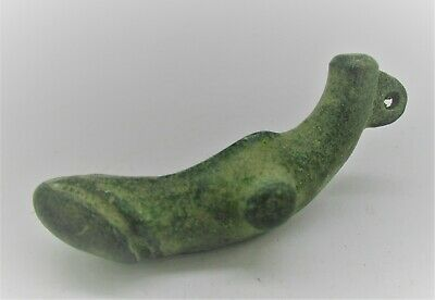 Circa 200 - 300 Ad Finest Roman Bronze Phallic Fertility Phallus Amulet Wearable