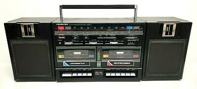 SOUNDESIGN BoomBox AM/FM Stereo Radio w/ Dual Cassette Player 80's Vintage 4788