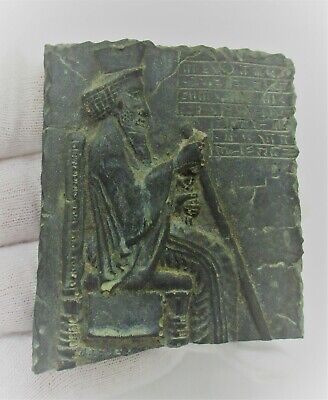 Ancient Near Eastern Black Stone Tablet With Early Form Of Writing & Worshipper