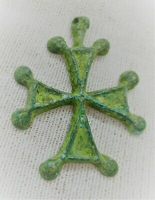 Museum Quality Ancient Byzantine Bronze Crusaders Cross Pendant Wearable