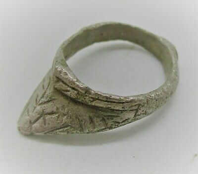 Circa 900 - 1100 Ad Viking Era Norse Silver Archers Thumb Ring Runic Engravings