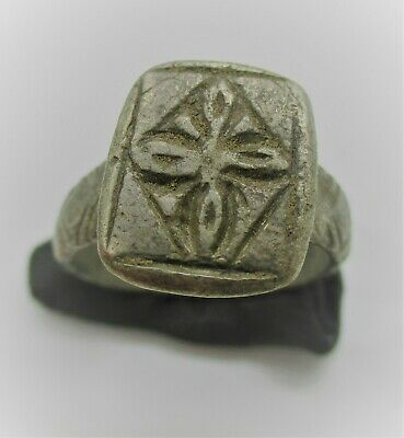 Detector Finds Byzantine Silver Seal Ring With Crusadars Cross Motif On Bezel