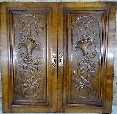 Pair Antique French Solid Walnut Carved Wood Door/Panel  - Basket of fruit