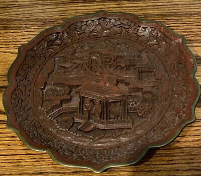 Antique Hand Carved 19th century Carved Signed Cinnabar Plate Estate