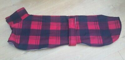 Greyhound  dog fleece coat 31inch 79cm black and red check double layer