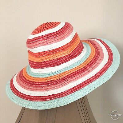 NWT Gymboree Girls Size 3-4 Hat Sun Floppy Beach Straw Multicolor Stripes