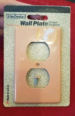 1 Vintage Pink Outlet Cover Plate With Screw - 1989 - Made in U.S.A. - New