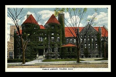 Us Postcard Public Library Covered In Green Ivy Toledo Ohio White Border