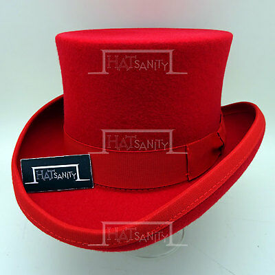CLASSIC Wool Felt Kids Tuxedo Top Hat Boys Topper FORMAL Victorian | 52cm | Red
