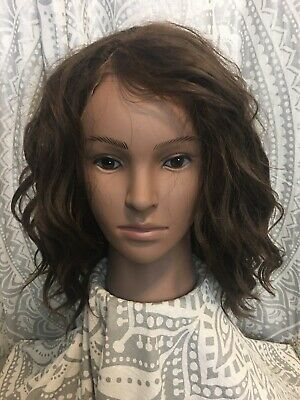 Brown/Auburn Beach Wavy Heat OK Synthetic Lace Front Wig Curly Altered Preowned