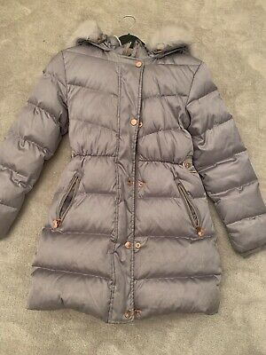 silver ted baker coat girls with detachable fur trim hood age 11