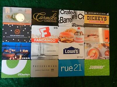 Lot Of Sixteen (16) All Different Collectible Only *Gift Cards*